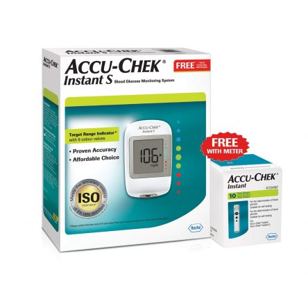 Accu-Chek Instant S Glucometer (White) with Free 10 Test Strips